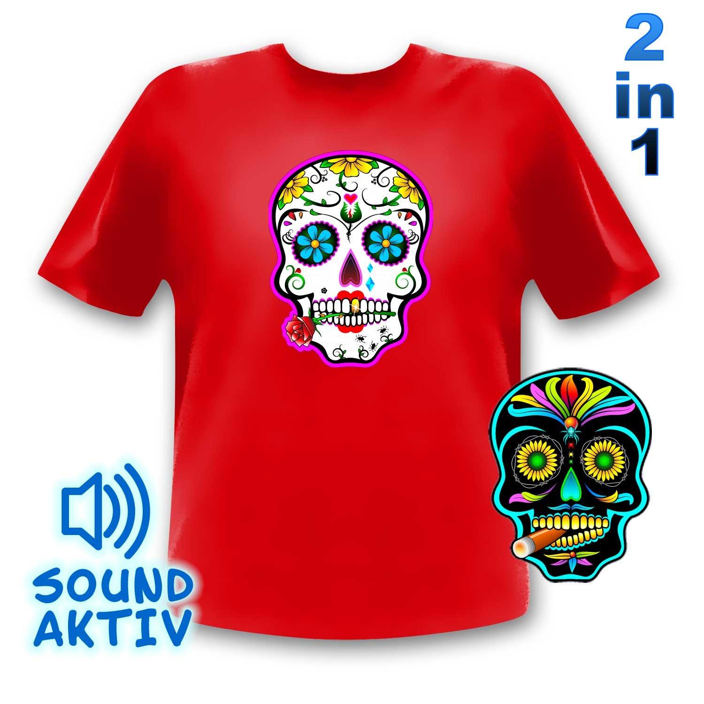 LED-Fashion - Camiseta con iluminación LED, diseño con calaveras de estilo mexicano rojo rojo Talla:large: Amazon.es: Deportes y aire libre