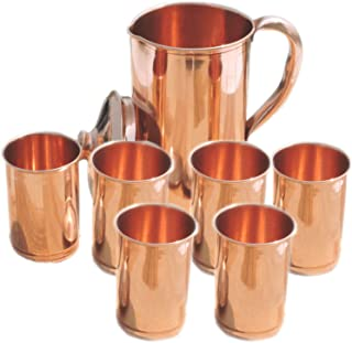 PARIJAT HANDICRAFT Indian Ayurveda Smooth Finished Copper Water Pitcher Copper 6 Glasses Capacity 10 Ounce with 1 Jugs Capacity 54 Ounce Set for Storing Drinking Water Ayurveda.