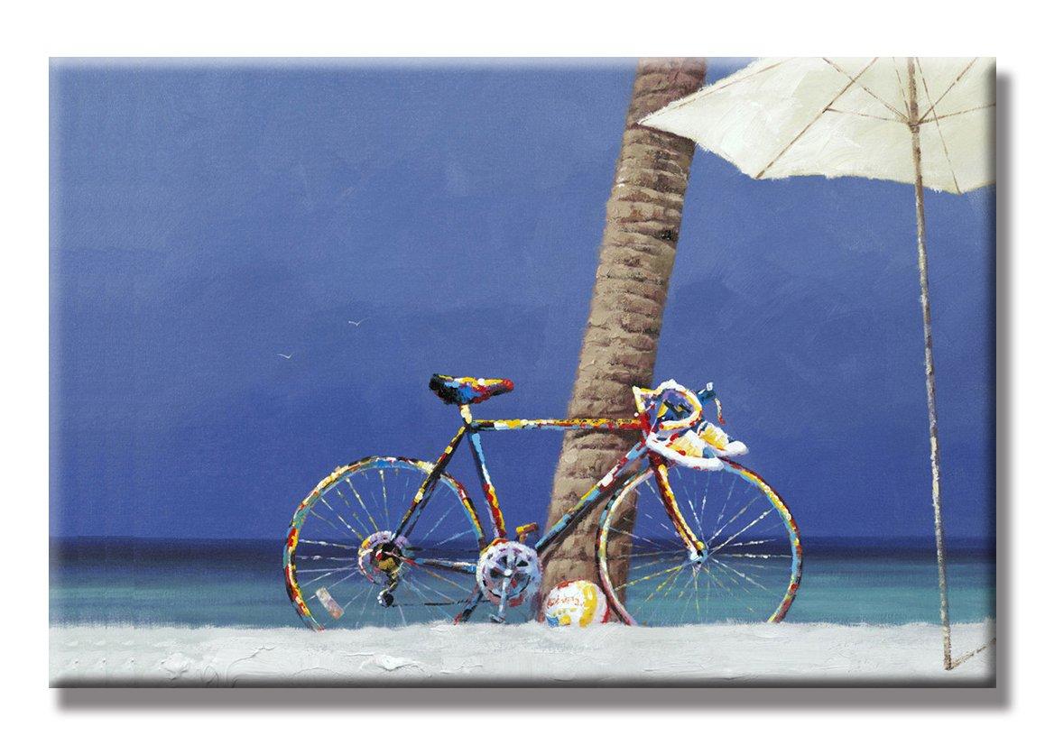 Siete pared artes – Bicicletas y la playa pintado a mano pintura al óleo paisaje con marco estirada arte de pared 24 x 36 inch: Amazon.es: Hogar