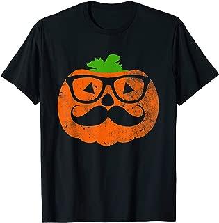 Halloween Nerd Geek Pumpkin With Mustache Wearing Glasses T-Shirt