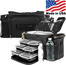 Meal Prep Lunch Box ISOBAG - Large Insulated 6 Meal Prep Bag/Cooler With 12 Containers, 3 Ice Packs & Shoulder Strap (Blac...