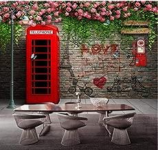 Custom Photo Wallpaper Modern London Telephone Booth Rose 3D Wall Murals Cafe Restaurant Living Room Backdrop Wall Papers Decor-300cmx210cm