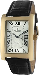 Men's Vintage Rectangular 14K Gold Plated Wrist Watch with Matching Leather Strap Band