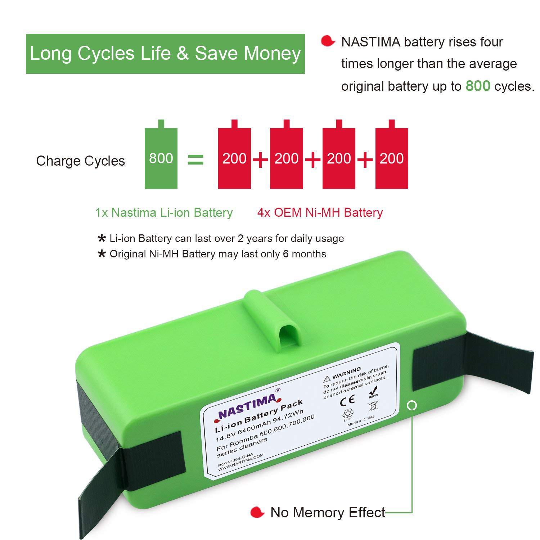 NASTIMA Batería de Litio 14.8V 6400mAh Larga Vida de 800 ciclos ...