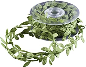DECORA Artificial Green Leaf Ribbon for Wreath and Flower Decorations (10 yard spool)