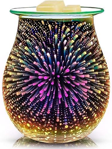 EQUSUPRO 3D Glass Electric Wax Melt Warmer Wax Burner Melter Fragrance Warmer for Home Office Bedroom Living Room Gif...