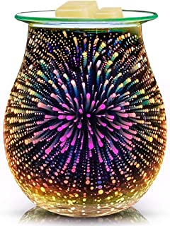 EQUSUPRO 3D Glass Electric Wax Melt Warmer Wax Burner Melter Fragrance Warmer for Home..