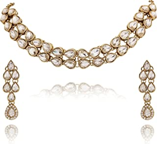 Crunchy Fashion Bollywood Style Traditional Indian Jewelry Wedding Set Glass Kundan Necklace with Earrings for Women