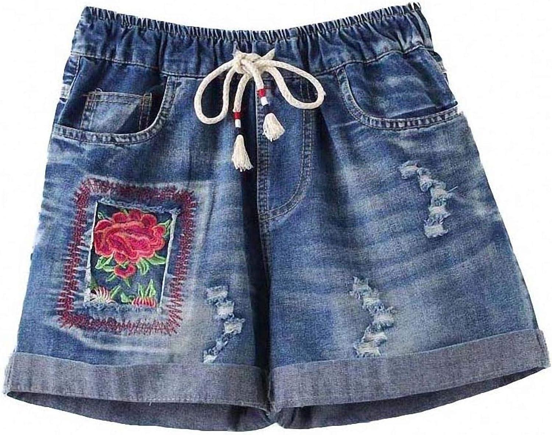 Tayaho Plus Size Embroidery Flower Denim Shorts Women Casual Elastic High Waist Loose Pocket Jeans Denim Shorts with Belt Short