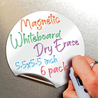 Magnetic Dry Erase Whiteboard Notes - 5.5 x 5.5 inch, 6 Pack, Round - Decorative Magnet Blackboard for Kitchen, Decor, Off...