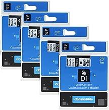 4 Pack Compatible DYMO D1 Label Cassette 45013 S0720530 Label Maker Tape Black on White 1/2 Inch x 23 Feet