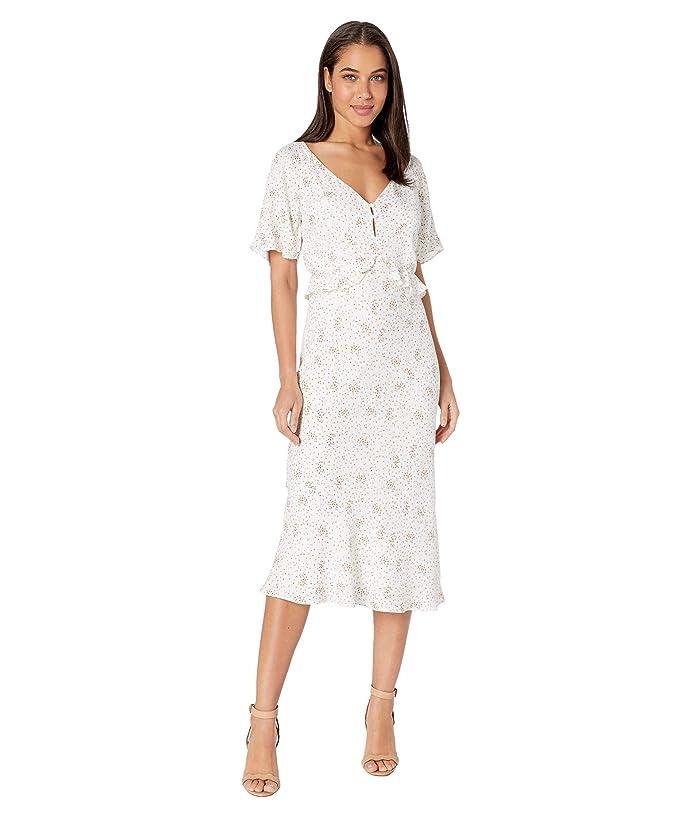 Cupcakes and Cashmere  Delphine Mini Buds Rayon Midi Dress with Ruffle Waist (Marshmallow) Womens Dress