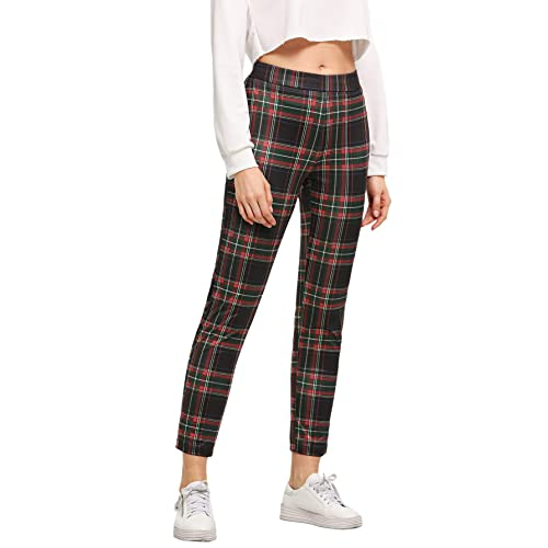 69781592f10b75 WDIRARA Women's Elastic Waist Plaid Print Pants Soft Printed Fashion  Leggings