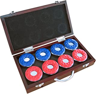 Hathaway Shuffleboard Pucks with Case (Set of 8), Dark Cherry Finish