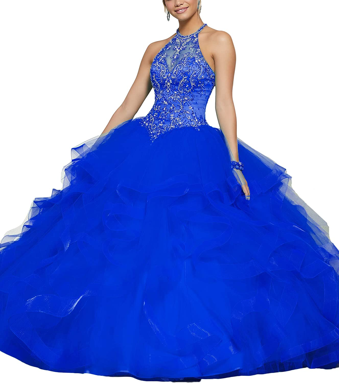 Yisha Bello Women's Crystal Beaded Ball Gowns Sweetheart Sleeveless Organza Ruffles Quinceanera Dresses