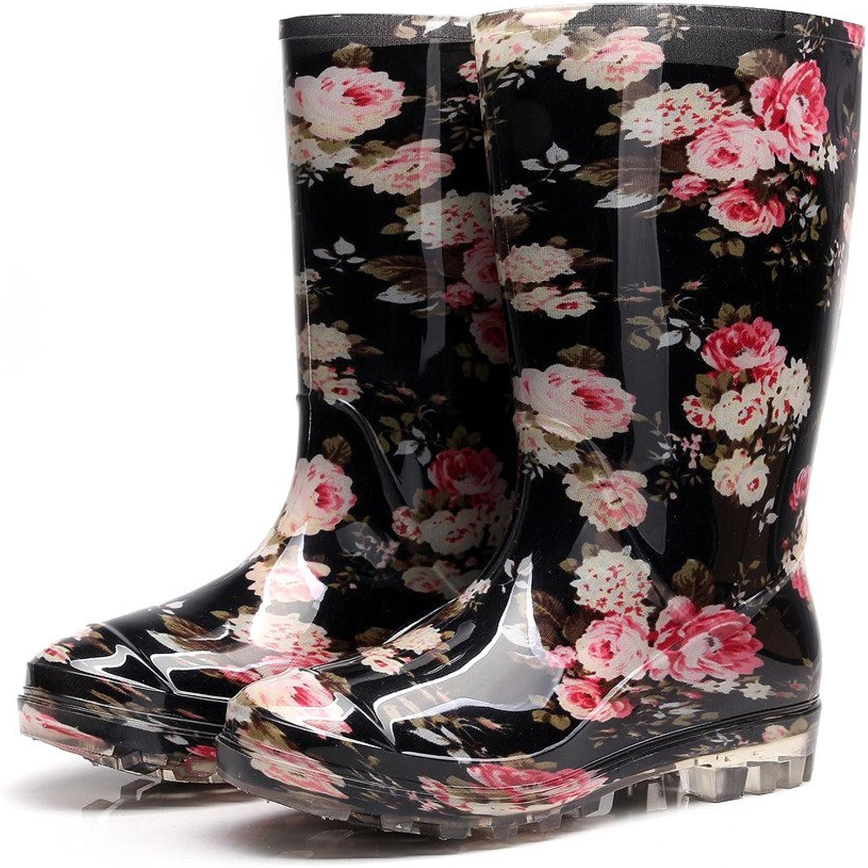 Kontai Womens Rain and Garden Boot Wellies Half Calf Rubber Rainboots Floral Printed Waterproof for Garden Women rain Footwear