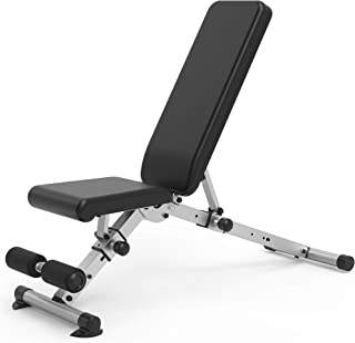 leikefitness Adjustable Weight Bench Foldable Workout Exercise Bench with Automatic Lock for Upright Incline Decline and F...