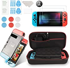 Younikoo Accessories Kit for Nintendo Switch Including Carrying Case / Switch Clear Cover Case / Thumb Stick Caps/ Tempered Glass Screen Protector (2 Packs)