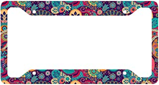 Airstrike Hippie Flower License Plate Frame, Floral Pattern Car Tag Frame, Retro License Plate Holder, Cute License Plate Frame-30-753