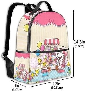 Classic School Backpack Snoopy Unisex College Schoolbag Travel Bookbag Black