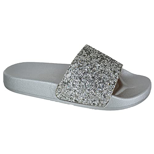 d5e175257 EYESONTOES Ladies Womens Comfy Slip On Mule Summer Glitter Sliders Flat  Slippers Shoes Size