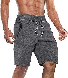 BIYLACLESEN Men's Jogger Sports Shorts Running Gym Workout Shorts Cotton Summer Beach Shorts with Zipper Pockets