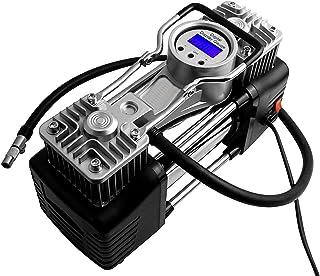 Brezleen 12V DC Steel ABS Plastic 2-Cylinders Metallic Tyre Inflator Air Compressor Pump with Digital Display Gauge and Li...