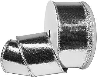 Morex Ribbon 4100 Wired Lamè Ribbon, 2.5 inch by 10 Yards, Silver