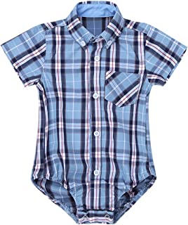 comprar comparacion inlzdz Bebé Body Camisa Cuadros de Verano Mameluco Manga Corta Mono con Bolsillo Pelele de Algodón Suave Playsuit Infantil...