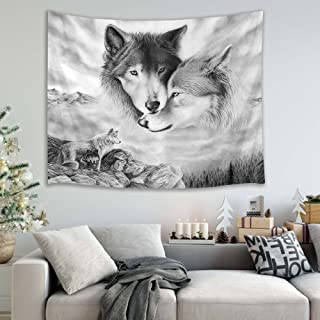 HVEST Wolf Tapestry Wild Predator Wolves Standing on Cliff Wall Hanging Animal Tapestries for Bedroom Living Room Dorm Wall Decor,60 W x 40 H inches