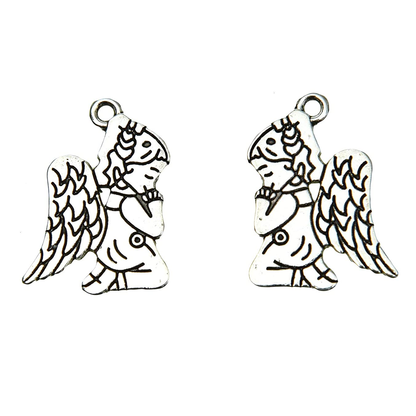 Monrocco 50 Pieces Antique Silver Fashion Jewelry Making Charms Angel Cupid Charms Good Luck Eagle Wing Metal Pendants for Jewelry Making DIY Findings
