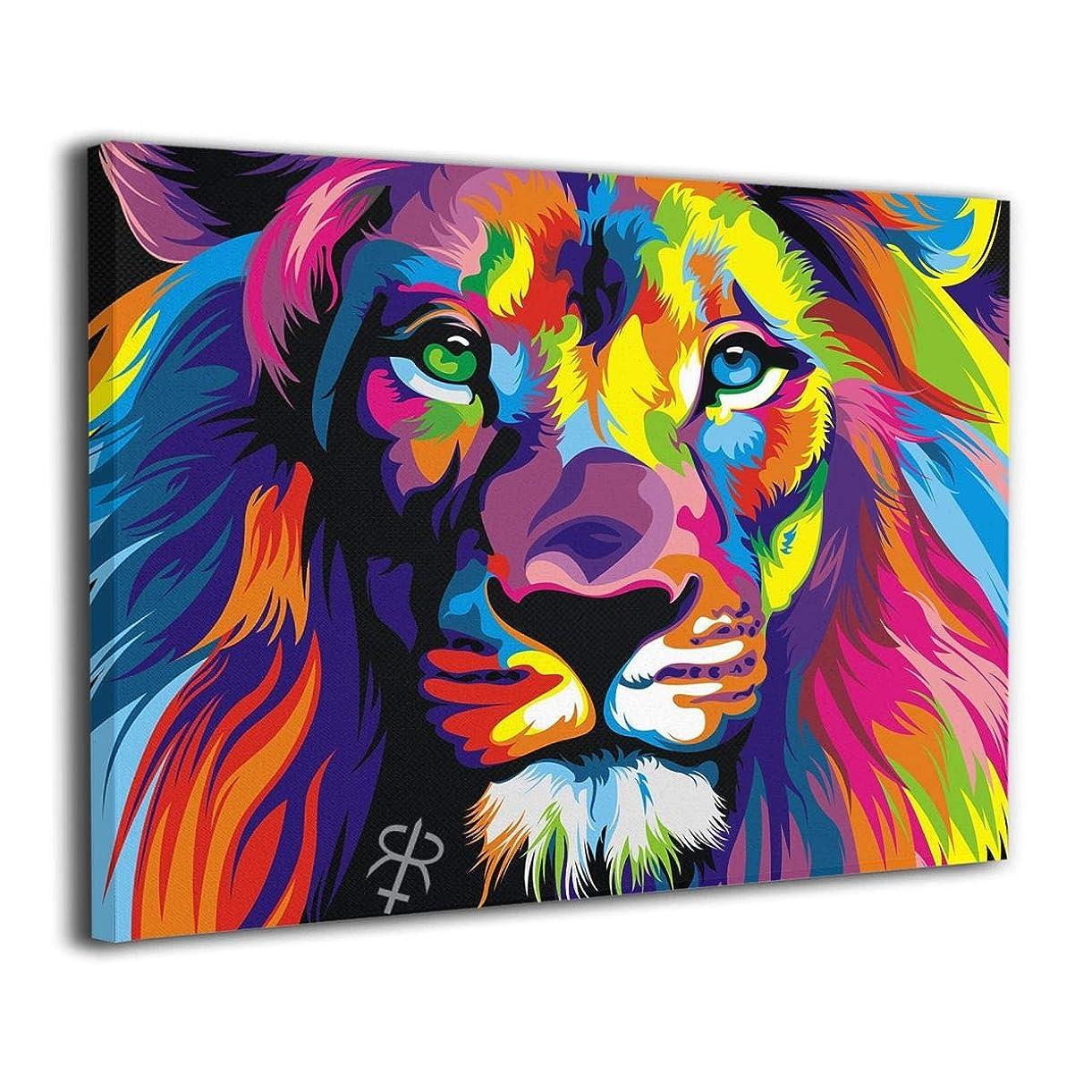 ステップ可能にする杭カラフル ライオン 絵画 美術イラスト 横50*縦40cm
