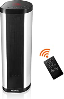 Pelonis Tower Heater, 1500W Vertical Horizontal Space Heater, Portable Ceramic Heater Internal Oscillation, Remote Control, Programmable Thermostat & 24H Timer, Overheating Protection for Home& Office