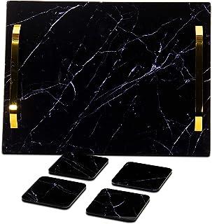 Exporticked Plateau en acrylique noir fait à la main avec poignées en aluminium plaqué nickel et quatre sous-verres, organ...