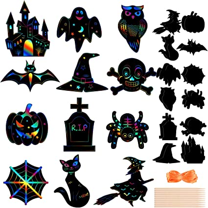 MIAHART Halloween Theme Scratch Paper 24 Pcs Rainbow Scratch Art Paper Card Pumpkin Bat Castle Hats Craft Kit with 10pcs Bamboo Styluses and 8M Ribbons for DIY Halloween Handicrafts(24Pack)
