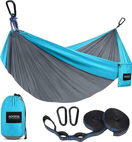 Kootek Camping Hammock Double & Single Portable Hammocks with 2 Tree Straps, Lightweight Nylon Parachute Hammocks for...