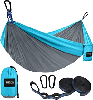 -Blue White KSHU Double Camping Hammock,Hammock Portable Camping Garden Beach Travel Hammock Outdoor Ultralight Colorful Swing Bed Rollover-proof Canvas Stick Shammock Hamac Color : Blue white