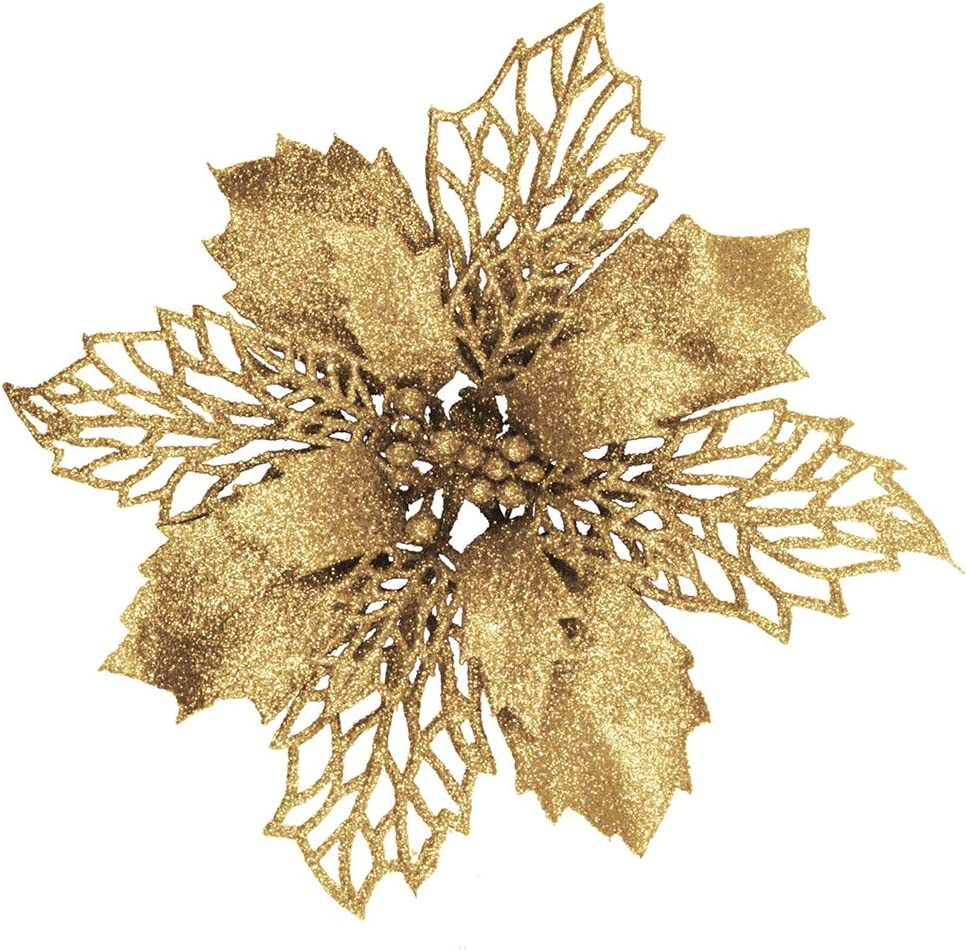 Nippon regular half agency 24 Pcs Christmas Gold Glittered Poins Leaf Holly Artificial Mesh
