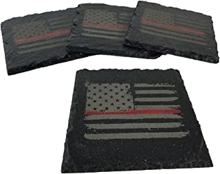 Firefighter Thin Red Line Distressed American Flag Slate Coaster Set
