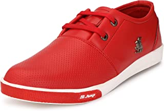 Fashion World Casual and Comfortable Lofer Sneakers Canvas Shoes for red