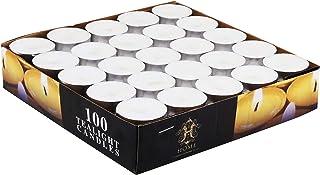 Showay Home 100 Pieces Set Tea Light Candle, White, 2724442095810