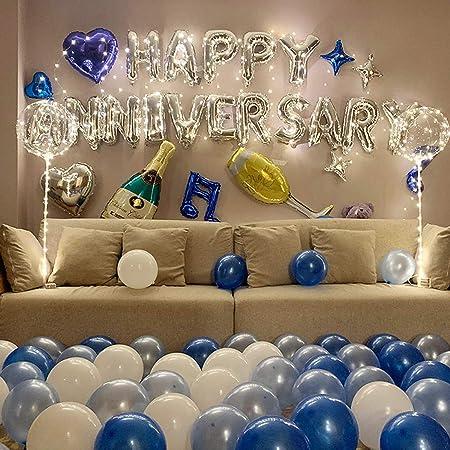 Smartz Minds Happy Anniversary Foil Balloon, 86 Piece, White, Silver;blue