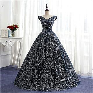 ztmyqp Simplicidad con Estilo Vestido de Novia Lentejuelas Vintage Escote en V Vestido de Gala Vestido Hasta el Suelo Enca...