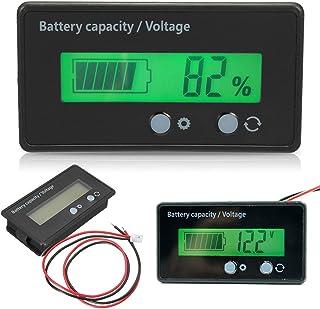 Acogedor Battery Capacity Tester Voltage Meter Monitor, Waterproof LED Multifunction 6-70V LCD Display Backlit Universal B...