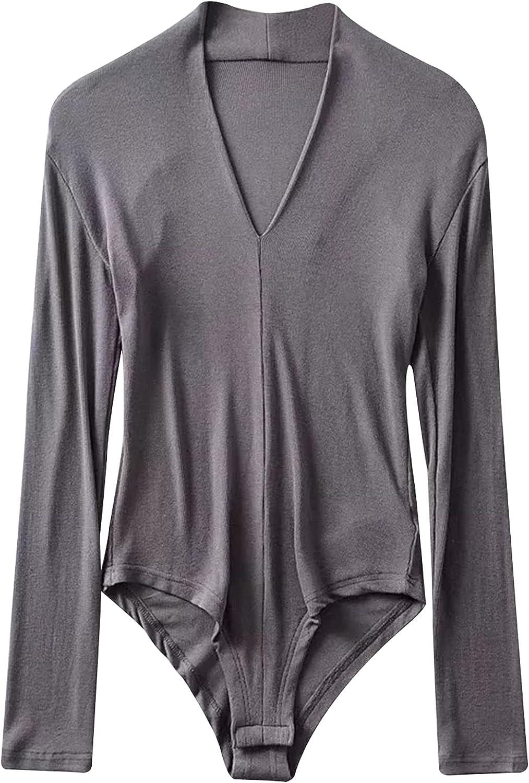 YONGHS Womens V Neck Bodycon Leotard Top Long Sleeve Bodysuit Jumpsuit