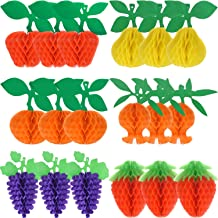 Maitys 18 Pieces Fruit Tissue Honeycomb Tissue Paper Fruit Decorations- Apple/Pear/Grape/Strawberry/Pomegranate/Orange with Hanging Rope for Tropical Hawaiian Luau Party Decorations