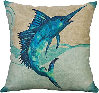 Sallydream Fundas Cojines Decorativa Simple Lino Mediterráneo Concha Retro Concha Mar Criaturas Alm