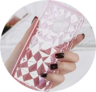 Case for Samsung Galaxy Note 9 8 S8 S9 Plus S7 Edge 3D Diamond Clear Soft Phone Case for Galaxy A6 A8 Plus J2 J5 J7 Prime,Transparent Pink,for Galaxy S8