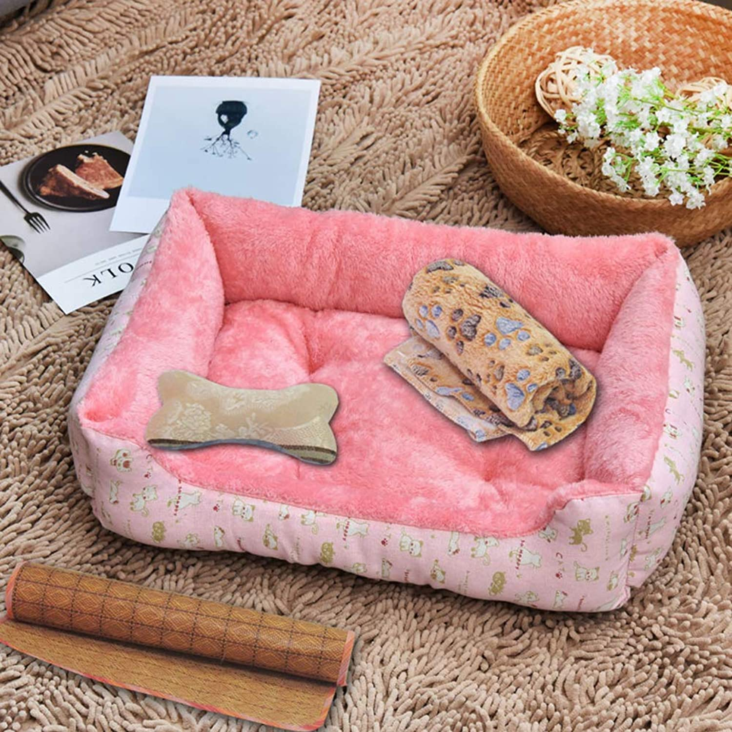 Pet Bed,Four Seasons Universal Dogs & Cats Ultra Comfort Washable Dog Bed Suitable for Small and Medium Dog 4 Flower Patterns are Available