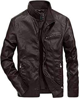 Nantersan Men's Leather Jacket Stand Collar PU Mens Faux Fur Coats Motorcycle Jacket